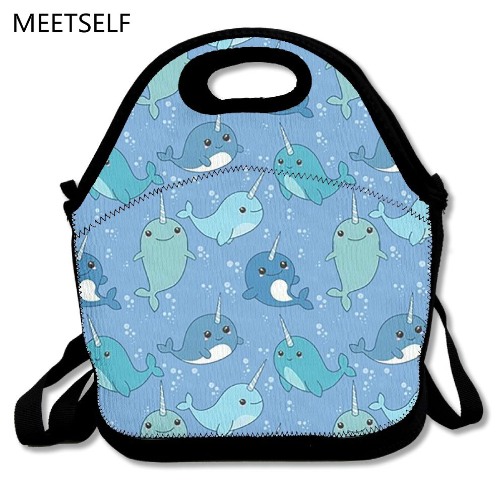 MEETSELF 3D Print Cute blue narwhal Lunch Bags Insulated Waterproof Food Girl Packages men and women Kids Babys Boys Handbags