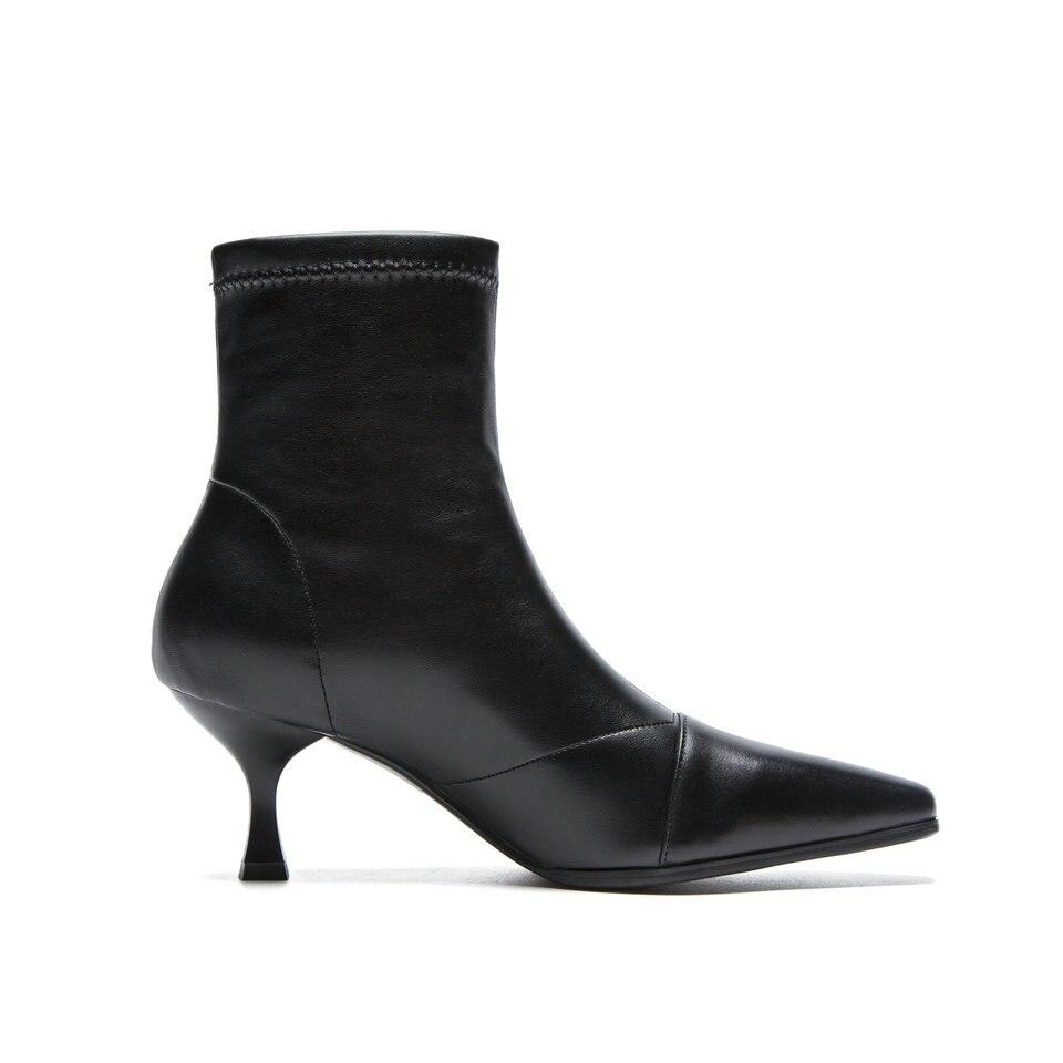 Cuir black Leather Flock Troupeau En Femme Chaussures Eshtonshero 34 Haut Mince Cheville Talon Black Moto On hiver Automne Bottes Dames Slip Taille 40 BBqR01