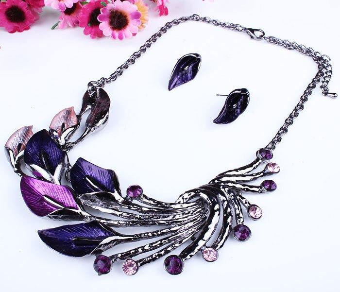 2018 Elegant Women Lady Purple Peacock Enamel Bib Necklace Stud Earrings Set Gir Women Gift We Accessory Jewelry