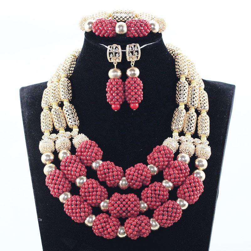 Luxury Original Wine Red Coral Bridal Beads Jewelry Set Dubai Gold Wedding African Nigerian Jewelry Necklace Set Free Ship JB036 free ship gou matsuoka long wine red women style anime cosplay wig one ponytail 370f