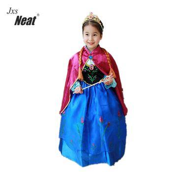 2017 girl party dress elsa anna dress baby girls Floor Length mesh and diamond princess Flower girl dresses for wedding Z246 conjuntos casuales para niñas