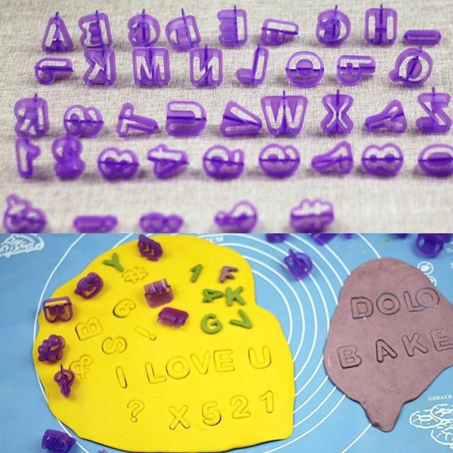 40 Pcs Alphabet Letter Number Fondant Cake Biscuit Baking Mould Cookie Cutters and  stamps 3