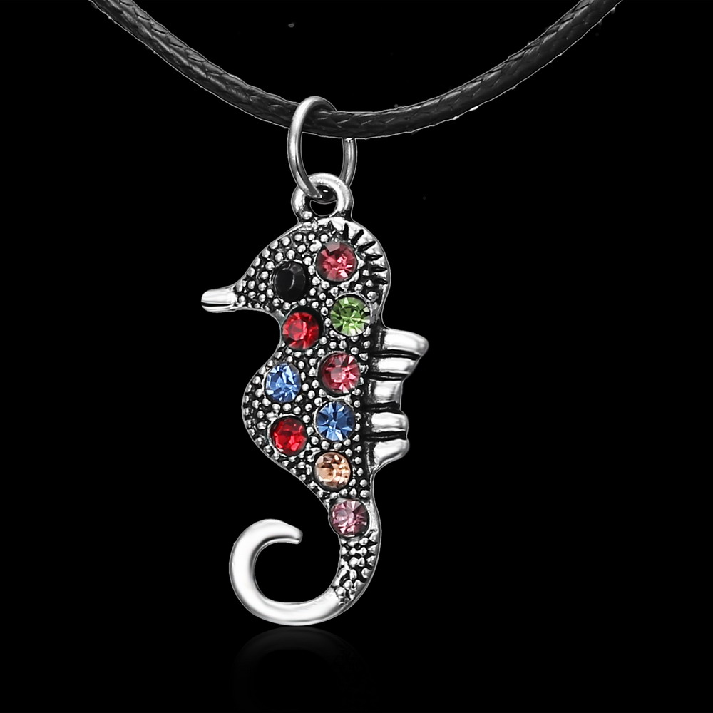 Chic Valentines Day Gift Fashion Alloy Seahorse Crystal Rhinestone Animal Pendant Necklace Women Collar Jewelry Dropshipping