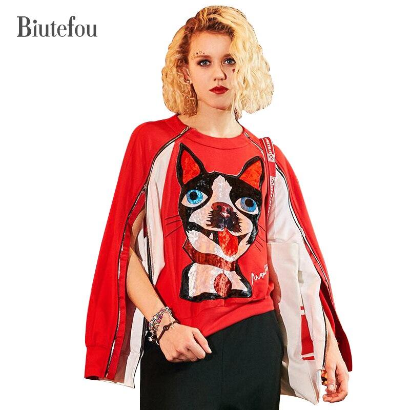 2019 printemps et automne mode zipper designs fente manches sweatshirts femmes dessin animé chien imprimer chic hauts