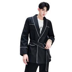 Мужской повседневный блейзер с поясом Desinger мужской блейзер Para Hombre классический мужской пиджак приталенное пальто Veste костюм Homme Regular