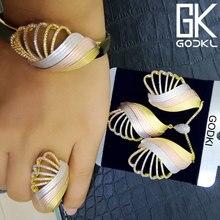 GODKI Luxe DUBAI Zirconia Oorbel Ketting Set Nigeriaanse Birdal Sieraden Sets Voor Vrouwen Afrikaanse Kralen Sieraden Sets