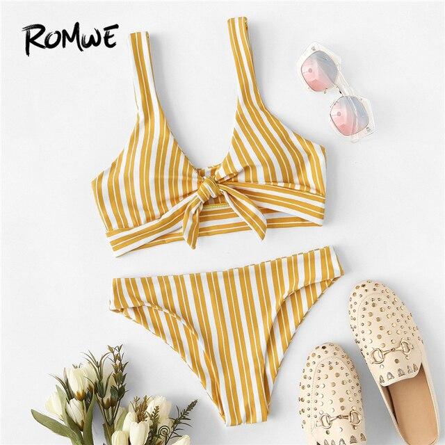 98ff152efa364 Romwe Sport Yellow Vertical Striped Knot Front V Neck Wireless Bikini Set  Women Summer Low Waist Swimsuit Beach Swimming Wear