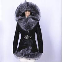 Женская кожаная куртка 2018 новый зимний большой меховой воротник искусственный олень кожаное пальто Офисная Леди Повседневная Slim Fit плюс ра