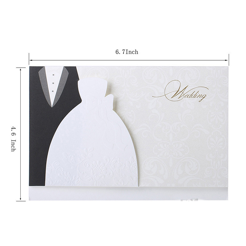 HOT 50pcs Laser Cut Western-style Groom & Bride Clothes Wedding Invitations Cards Customizable Printable Wedding Party SupplIes (6)