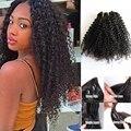 Negro rizos del pelo del clip en extensiones de cabello 120g fábrica precio afroamericano kinky rizado extensiones de cabello clip de la cabeza llena en