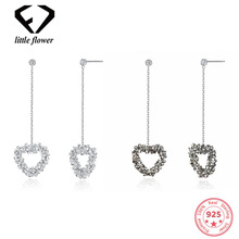Austria Elements Crystal Love Heart Long Drop Womens Earrings  European and American Fashion Sterling Silver 925 Jewelry Trendy