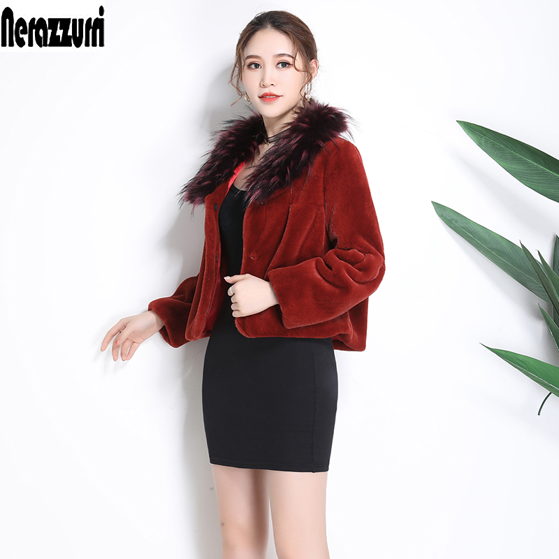 Nerazzurri Short Faux Fur Coat Women 2019 Winter With Fox Fur Collar Cropped Top Long Sleeve Plus Size Fake Fur Jacket 5xl 6xl