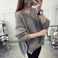 Sleeved sweater women's Spring and winter new  2017 tide Korean version of the loose coat line sweater short paragraph thick