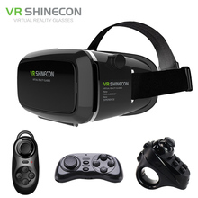 VR Shinecon Pro Virtual Reality Smartphone 3D Glasses Headset VR BOX Head Mount Cardboard Helmet for 4-6′ Phone + Remote Control