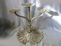 DS 10 China silver beautiful carved three lotus leaf fine candle holder Statue