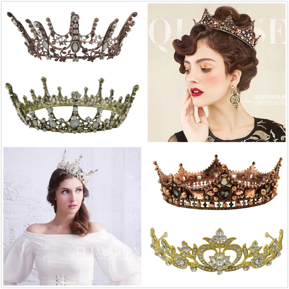 Luxurious 6 Style Europe Royal Queen Crowns Princess Crown Ladies Tiaras Bridesmaid Hair Jewelry Bridal Wedding Head Accessories