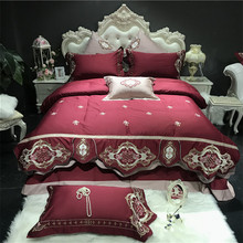 Luxury 100S/1000TC Egyptian Cotton Rose Embroidery Red Blue European Palace Bedding Set Duvet Cover Bed sheet/Linen Pillowcases
