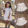 Ins Hot Baby Girls Lace Off-shoulder Dresses Kids Girl Princess Singlet Dress Babies Summer tutu Dress 2017 Children's Clothing
