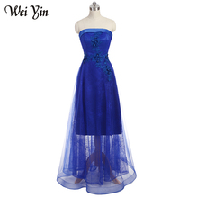 WeiYin Beautiful Evening Dresses Party on Sale Navy Blue Crystal Beaded A Line Women Prom Formal Evening Gowns Dresses
