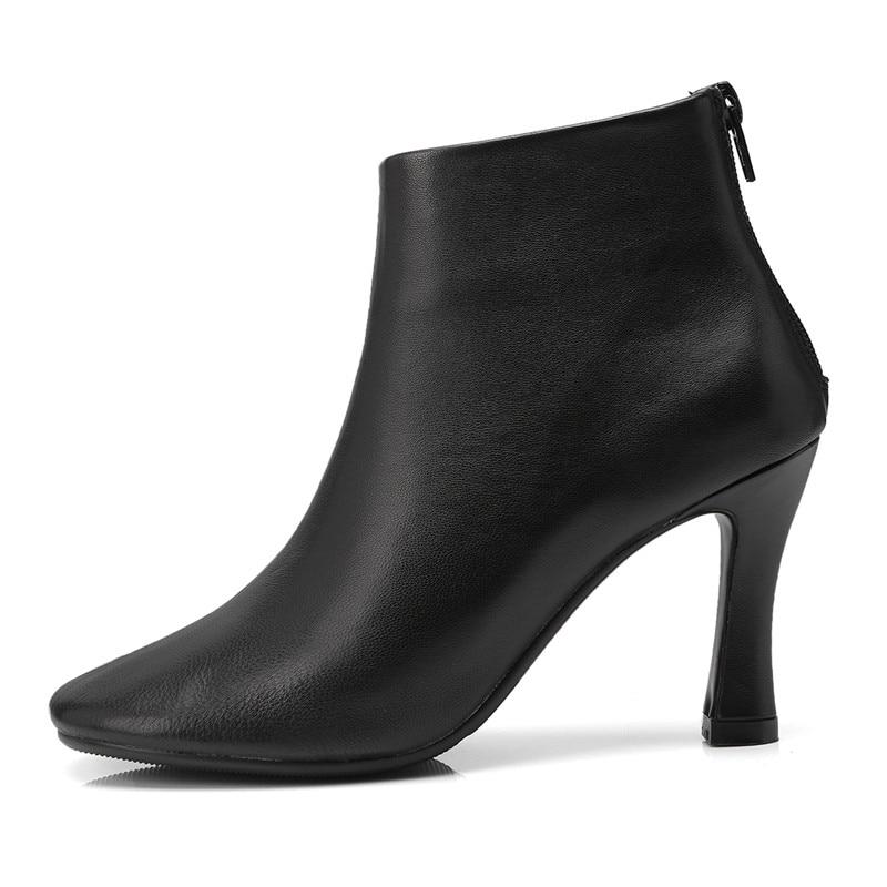 Taille Style L59 Chaussures Bottes Partie Discothèque Grande Noir 2018 En Cuir Véritable Zipper blanc Cheville Haute Superstar Étrange Élégant Automne Talons qvnpFBt