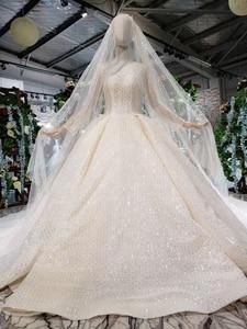 Image 5 - HTL346 nuovo Abito Da Sposa come il bianco piazza collo pulsante indietro lungo tulle maniche abito da sposa con velo da sposa бохо платье
