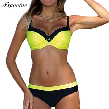 Bikini set Hot sale New Button design feminino sexy Halter Top Swimwear Steel support Swimsuit women swim bathing suit D0208