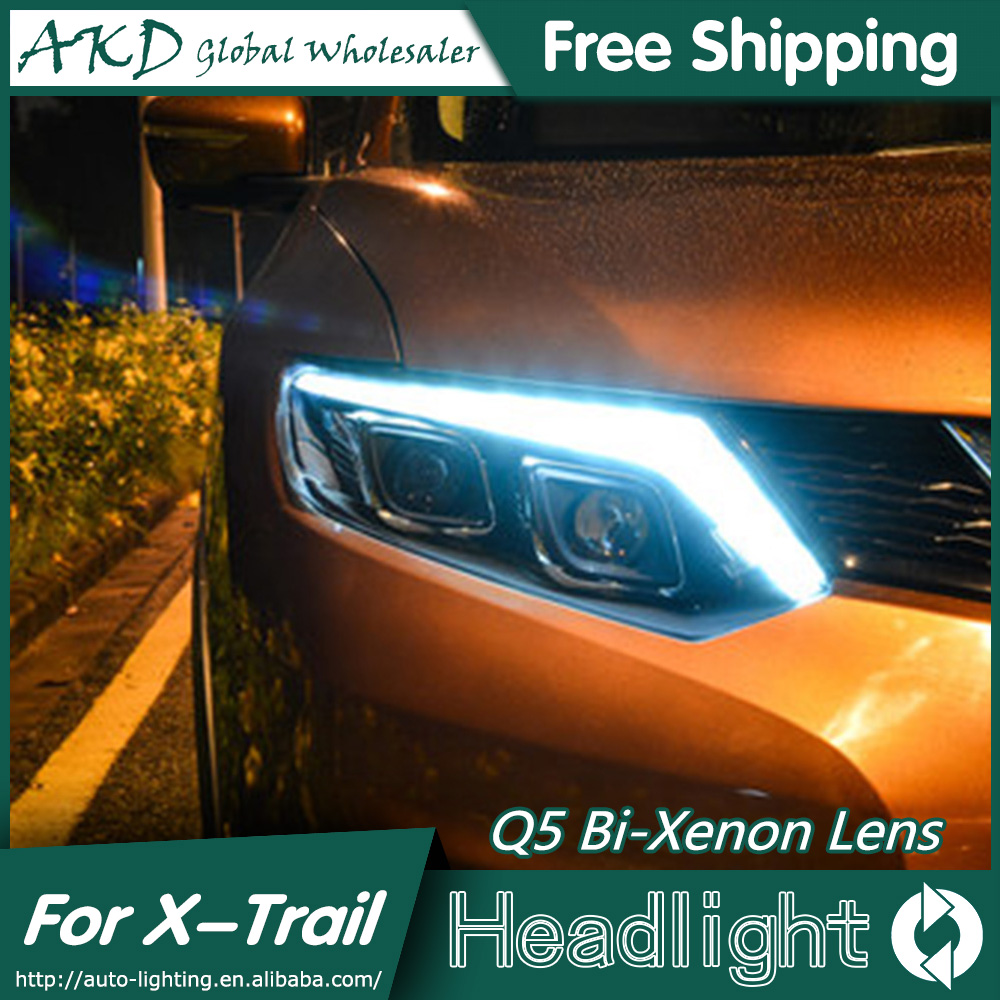 AKD Car Styling for Nissan Rouge Headlights 2014-2015 X-trail LED Headlight Signal LED DRL Bi Xenon Lens High Low Beam Parking akd car styling for nissan teana led headlights 2008 2012 altima led headlight led drl bi xenon lens high low beam parking