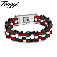 Trendy Men Jewelry Motorcycle Chain Bracelet Punk Stainless Steel Link Chain Biker Bicycle Men Bracelets Bangles