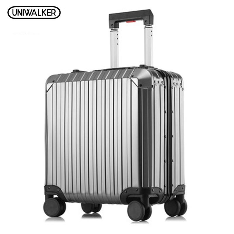 UNIWALKER 18 Inch Full Aluminum Alloy Rolling Luggage Travel Trolley Bag Maleta Cabina Siutcase with Spinner Wheels