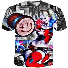 YOUTHUP 2018 Harley Quinn T Shirt For Men Clown Female 3d Print Joker Tees Tops Plus Size 5XL Streetwear