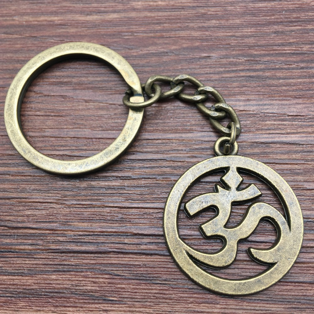 Keyring Om Sign Keychain 25mm Antique Bronze New Fashion Handmade Metal KeyChain Souvenir Gifts For Women A10434 image