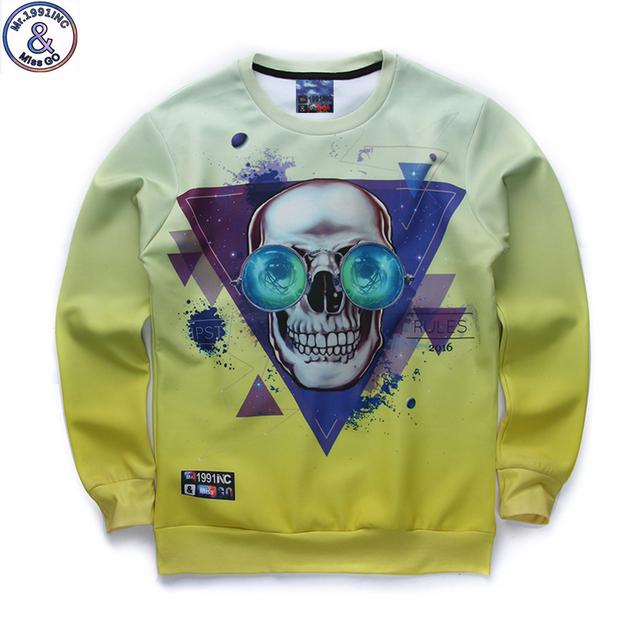 Mr.1991 marca mais nova listagem 3D crânio cabeça impresso hoodies meninos adolescentes Primavera Outono camisolas finas grandes camisolas dos miúdos W12