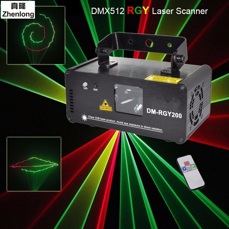 Remote DMX512 200mW RGY Laser Stage Lighting Scanner Effect Dance DJ Disco Party Show Light Xmas Projector Lights new mini red blue line pattern gobo remote laser projector dj club light dance bar party xmas disco effect stage lights show b55