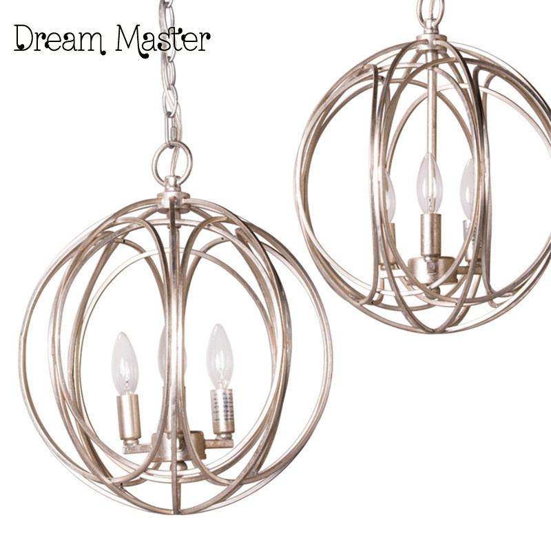 european style retro american village iron round birdcage chandelier bedroom restaurant creative art living room chandelier - Birdcage Chandelier