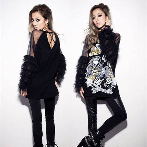 2015 Fashion Rock Style T Shirt Women Sexy Club Lace