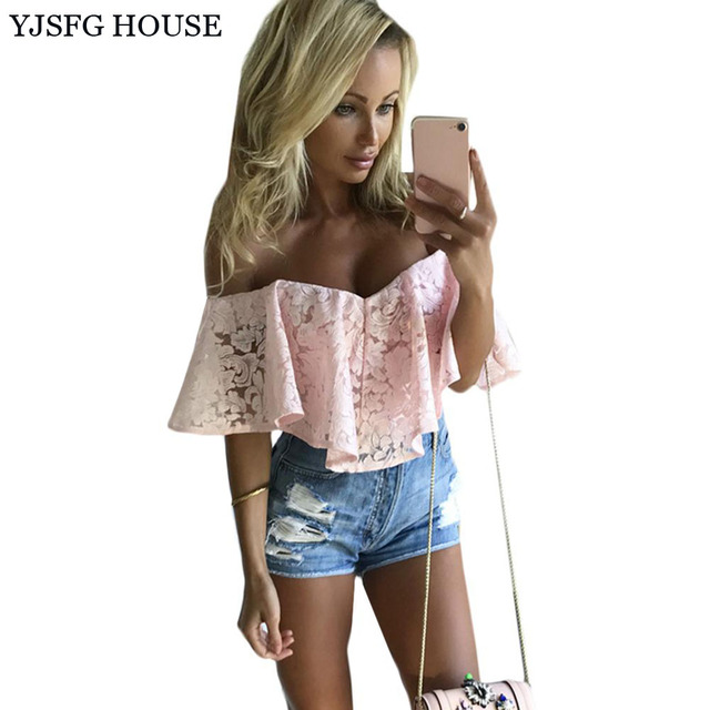 917145ef6749 YJSFG HOUSE Fashion Women Ruffle Jumpsuit Sexy 2017 Summer Bodysuit Overalls  One Piece Skinny Lace Rompers Off Shoulder Playsuit