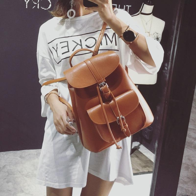 Leftside Women's Drawstring Pu Leather Backpack School Bags Teenage Girls Backpacks For Women High Quality Ladies Bagpack #4