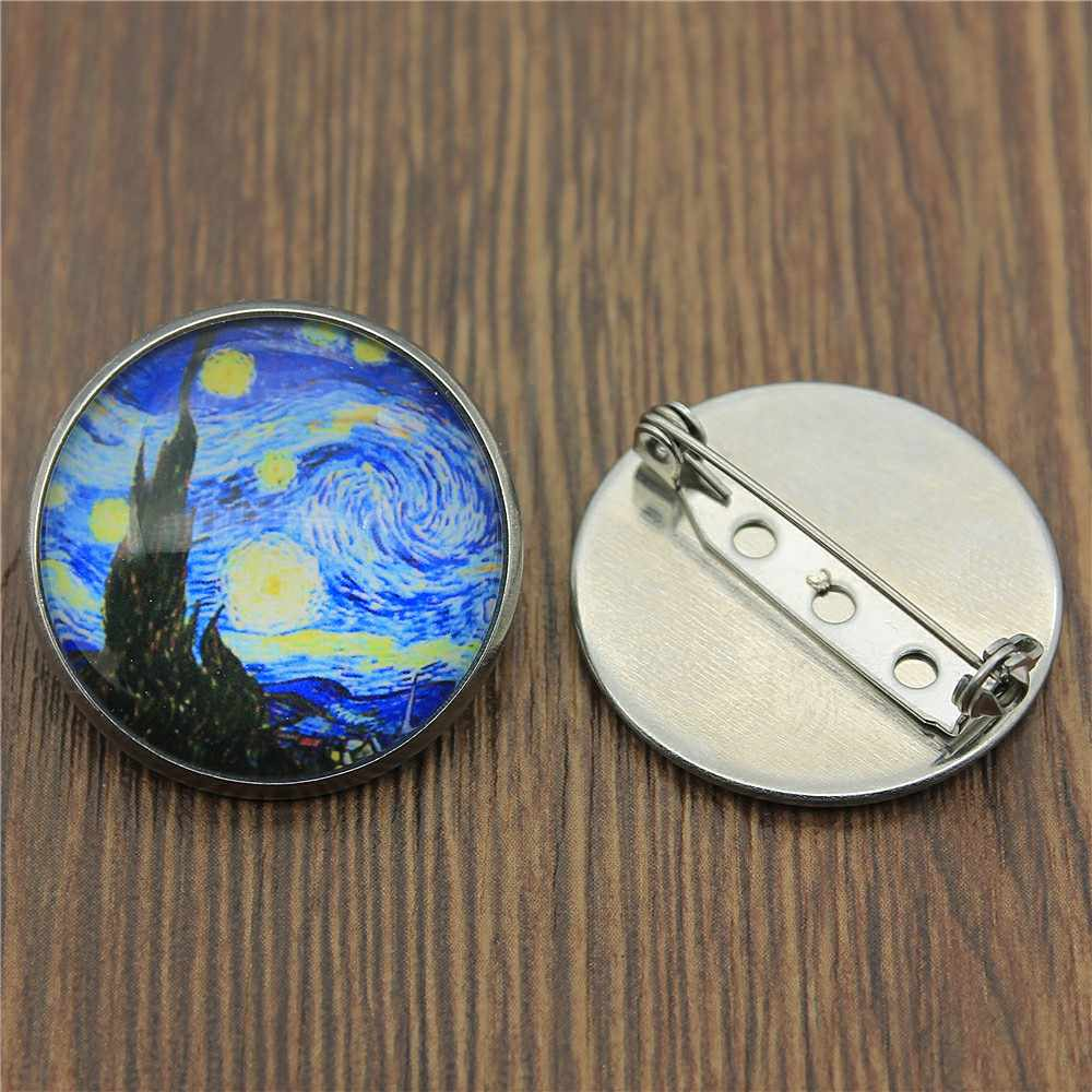 2019 Fashion Van Gogh Starry Night Kaca Cabochon Stainless Steel Bros Korsase Lencana Gaun Mantel Aksesoris