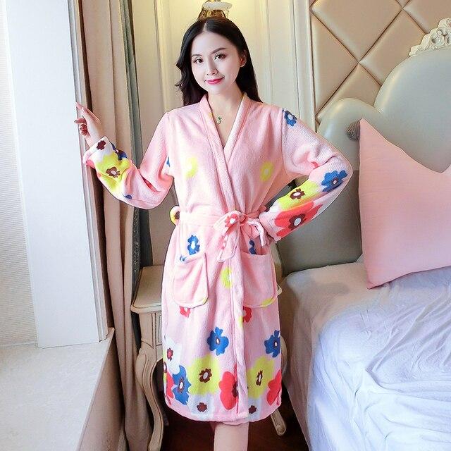 defadffafbe7 Winter Bathrobe Women Pajamas Bath Flannel Warm Robe Sleepwear Womens Robes  Coral Velvet Cartoon Nightgowns Girl Kimono Robe