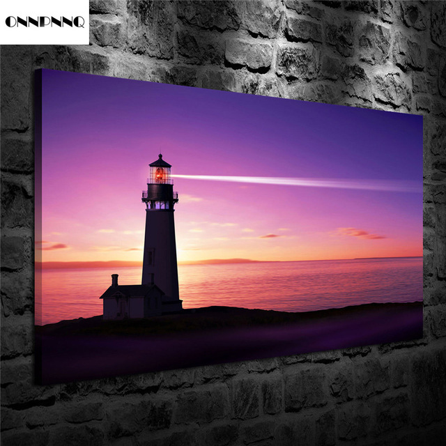US $16 99 |ONNPNNQ Night Sea Lighthouses Printed Oil Painting Wall Art On  Canvas Mural Hanging-in Painting & Calligraphy from Home & Garden on