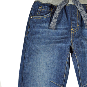 Image 3 - Детские джинсы штаны для мальчиков джинсы для подростков, брюки теплая осенне зимняя однотонная одежда с заклепками и эластичной резинкой на талии для маленьких мальчиков