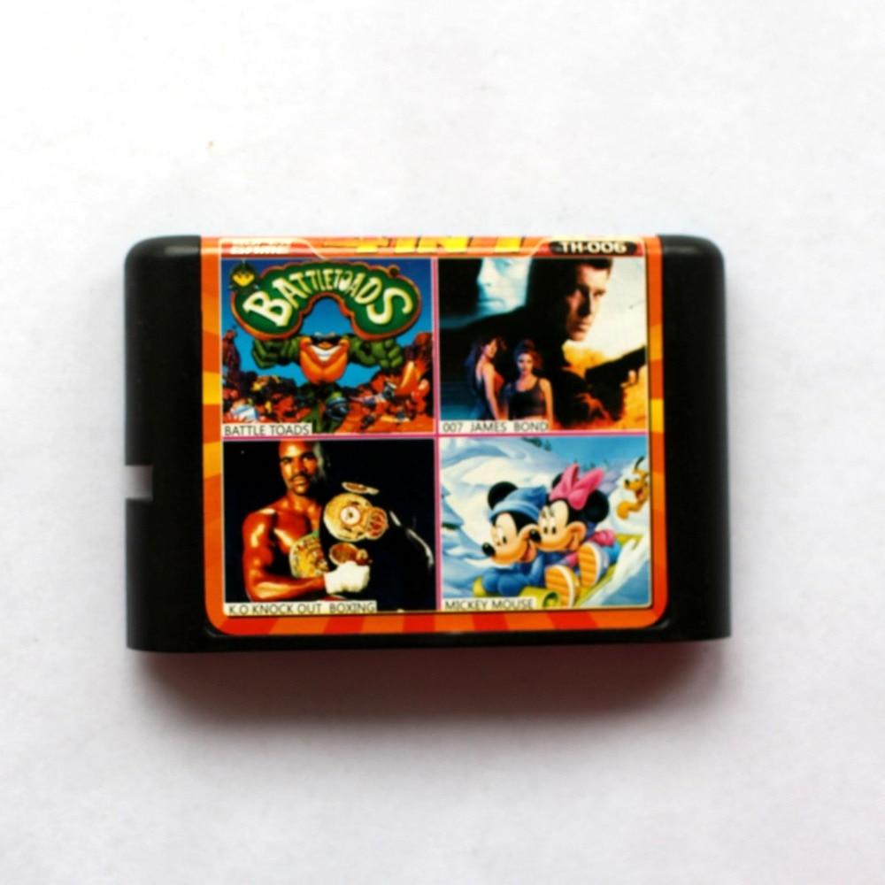 4in1 Battle Toads+007 James Bond+K.O Knock Out Boxing+Mickey Mouse 16 bit SEGA MD Game Card For Sega Mega Drive For Genesis