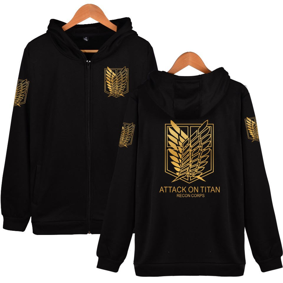 Attack On Titan Shingeki No Kyojin Long Sleeve Jacket Men Women Anime Cosplay Costumes Cotton Coats Survey Corps Logo Hoodie 4XL