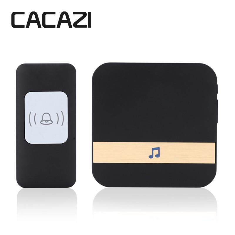 CACAZI Sans Fil Sonnette Étanche 300 m À Distance LED Lumière Batterie Bouton Récepteur Accueil Sans Fil Cloche 52 Carillons 4 Volume