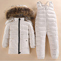 -40 Russia Air Winter Warm Down Jacket Clothing Set 90% White Duck Feather Kids  boys snowsuit baby Down Coat Parkas Outwear