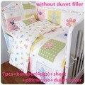 Promoção! 6 / 7 pcs conjunto de cama para berço do bebê recém-nascido roupa de cama de bebê para menina menino dos desenhos animados, Capa de edredão, 120 * 60 / 120 * 70 cm