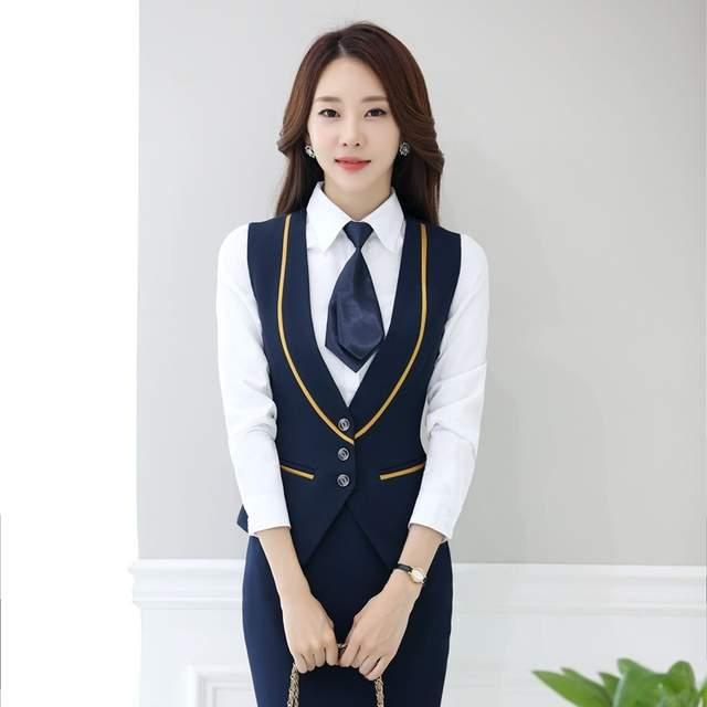 0dae53ec045 Online Shop Fashion Office Ladies Dark blue Vest Women Waistcoat Elegant  Female Work Wear Clothes Office Uniform Designs