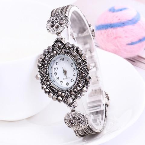 Shsby women Jewelry Watches Casual Quartz Bracelet Watch lady flower Rhinestone Clock Women Luxury Crystal Dress Wristwatches Islamabad