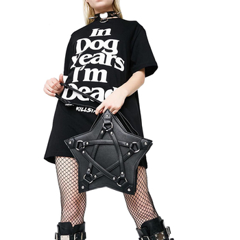 Punk Gothic Five Star Handbag Black PU Shoulder Bag