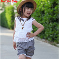 New Arrival Summer Lace Children Girl Clothes Set T Shirt & Lattice shorts Pants 2 Colors Kids Clothing Sets